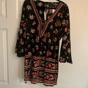 NWT Angie Black With Flowers Babydoll Dress
